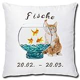 TRIOSK Kissen Katzenmotiv Sternzeichen Fische Dekokissen lustig mit Katze Geschenk für...