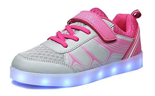 SLEVEL Toddler Kids LED Light Up Shoes Dance Dazzle USB Charge Sneaker for Boys Girls(SL068PinkGrey34)