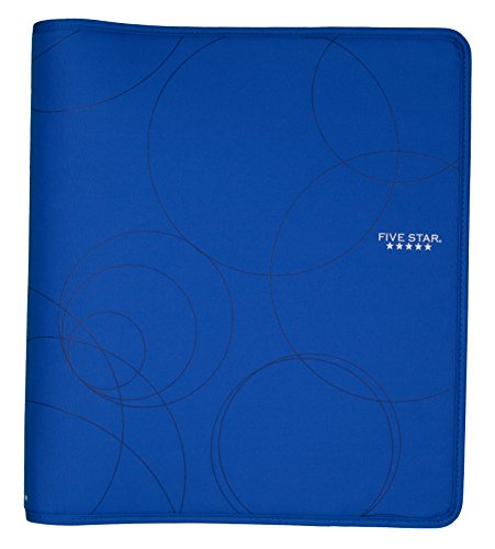Five Star 1-1/2 Inch Zipper Binder, Durable, Cobalt Blue with Circles (72378)