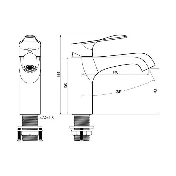Amzdeal Grifos de Lavabo, Grifo para Baño con Neoperl Aireador, Grifo monomando para Lavabo, Latón, Cromo/F-01