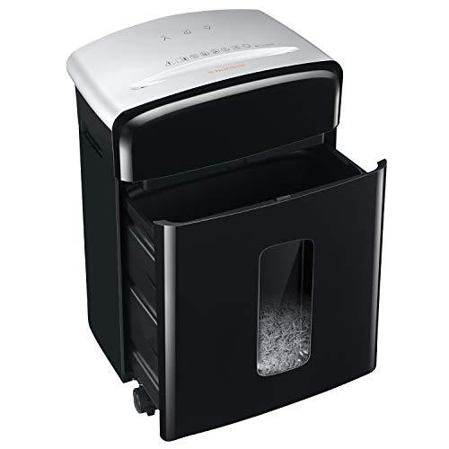 Bonsaii 12 Blatt Mikro-Cut (P-4) Aktenvernichter, Hochsicherheits Partikelschnitt Schredder, für Papier und Plastikkarten, 20L Papierkorb für kleine Büros und Home Office(C221-B)