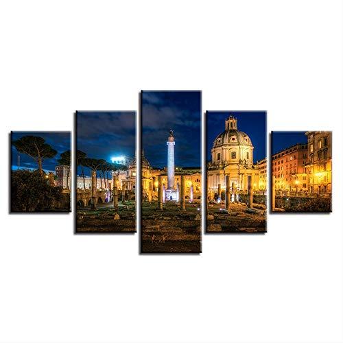 Canvas HD Prints Schilderij Wooncultuur Afbeeldingen 5 stuks Trajans Forum gebouw Nacht Landschap Poster Modulaire Woonkamer 40x60cmx2,40x80cmx2,40x100cmx1 Geen frame.