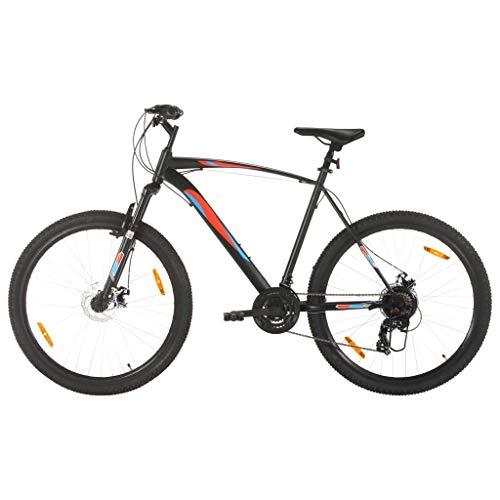 vidaXL - Bicicleta de montaña, bicicleta de ciclismo, artículo de deporte para adultos, exterior, frenos de disco, 21 velocidades, ruedas de 29 pulgadas, marco de 58 cm, color negro