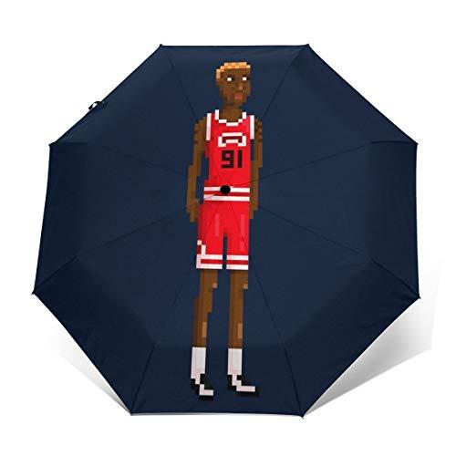Dennis Rodman Ganzkörper-Pixel-Regenschirm, Winddicht, kompakt, automatisch, faltbar, Reise-Sonnenschirm
