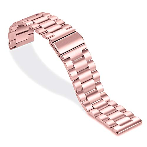 Aimtel Armband Kompatible mit Galaxy Watch Active2 40mm/44mm Armband/Vivoactive 3/Vivoactive 3 Music,20mm Edelstahl Metall Ersatzarmband für Galaxy Watch Active 2&Vivoactive 3/3 Music(Rosa)