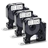 UniPlus Cinta de Vinilo Compatible para Dymo Rhino 18444 S0718600 12mm Etiquetas de Vinilo Industrial para Dymo Rhino 1000 3000 4200 5000 5200 6000, Negro sobre Blanco, 12 mm x 5.5 m, Pack de 3