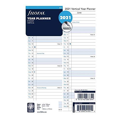 Filofax C68501-21 Nachfüllpackung, A5, vertikaler Jahresplaner, Englisch, 2021, 21 x 14,6 cm