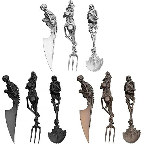 TTCPUYSA Skeletal Cutlery Sets Kitchen Skull Cutlery Set Gold,Personality Skull Metal Tableware 3 Set,Easter Christmas Party Utensils Desktop Decoration (Black)