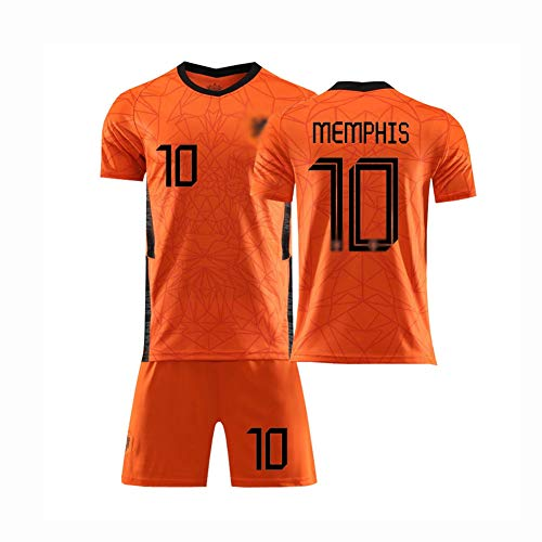 QW 20/21 Football Jerseys Home/Away Game Netherlands National Team Soccer Jersey No. 4 No.9 No.10 T-Shirt and Shorts Set for Children and Adults,3,L