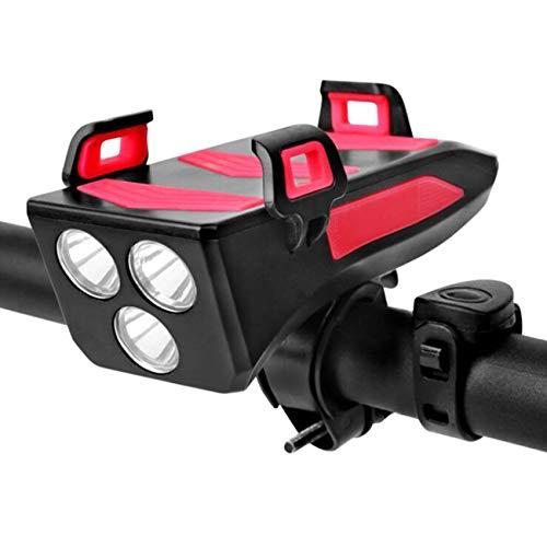 Luz Delantera De Bicicleta con Bocina Y Bicicleta Soporte para Teléfono Y Banco De Energía USB Recargable Impermeable LED Luz De Bicicleta 3 Modos Faros De Ciclismo, Ciclismo De Carretera Seguridad