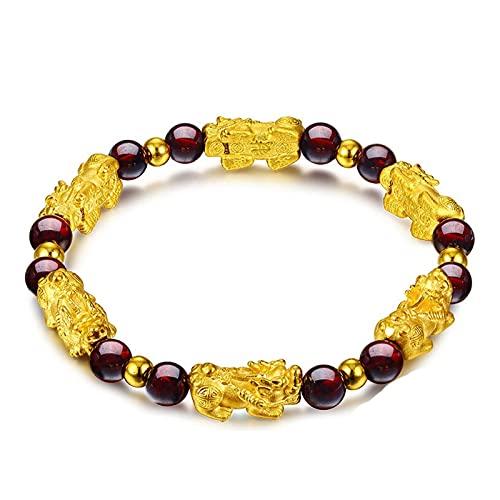 HHJY Garnet Slimming Bracelet, Sand Gold Feng Shui Wealth Pixiu Bracelet, Stress Anxiety Relief Sixfold Protection Bracelet, for Bring Luck (1PCS)