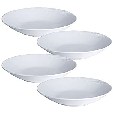 YHY 9.6-inch/30OZ Porcelain Serving Bowls, White Pasta/Salad Bowls Set, Wide & Shallow, Set of 4 - Stripe Pattern