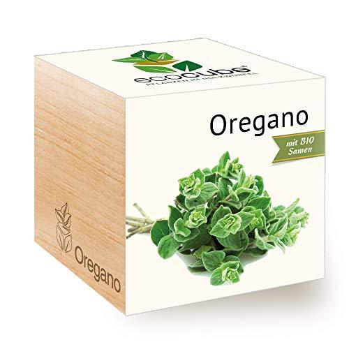 Feel Green Ecocube Oregano, Bio Samen, Nachhaltige Geschenkidee (100% Eco Friendly), Grow Your Own/Anzuchtset, Pflanzen Im Holzwürfel, Made in Austria