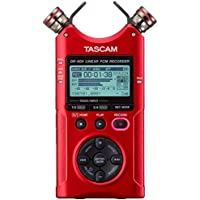 Tascam DR-40X Four-Track Digital Audio Recorder and USB Audio Interface (Red) + AKG Acoustics K92 Closed-Back Over-Ear Studio Headphones