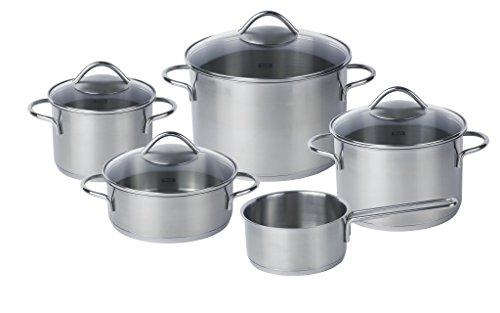 Fissler vienna / Edelstahl-Topfset, 5-teilig, Kochtopf-Set, Töpfe mit Glas-Deckel, Induktion (3 Kochtöpfe, 1 Bratentopf, 1 Stielkasserolle-deckellos)