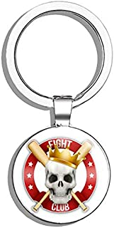Glover Trading Baseball Fight Club Skull Sport Round Stainless Steel Metal Key Chain Keychain Ring Double Sided Deisgn
