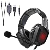 Auriculares Gaming, Onikuma K8 Gaming Headset RGB LED Auriculares para...