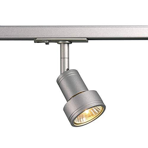 SLV LED Strahler 1-Phasen PURI | Dreh- und schwenkbarer Schienen-Strahler, LED Spot, Deckenstrahler, Deckenleuchte, Schienensystem, Innenbeleuchtung, 1P-Lampe | GU10 QPAR51, silbergrau, max. EEK E-A++