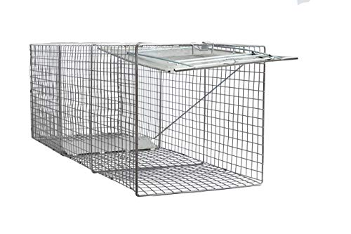 "LifeSupplyUSA Large One Door Catch Release Heavy Duty Cage Live Animal Trap for Dogs, Foxes, Badgers, Coyotes, and Other Similar Sized Animals, 42""x15""x15"""