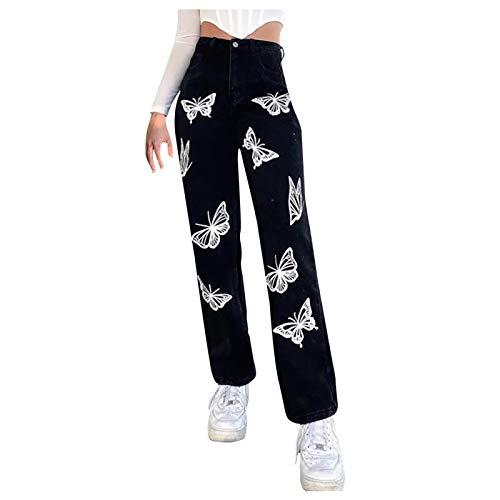 POTO Women's Y2K Jeans Mid Waist Wide Leg Denim Pants Baggy Trousers Flared Straight Jeans Retro Vintage Streetwear