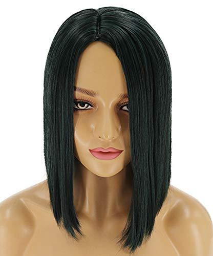 LVAIJING Dames Perruque Rose Cheveux Noirs Net Droite Courte Perruque Set 38 cm Perruque