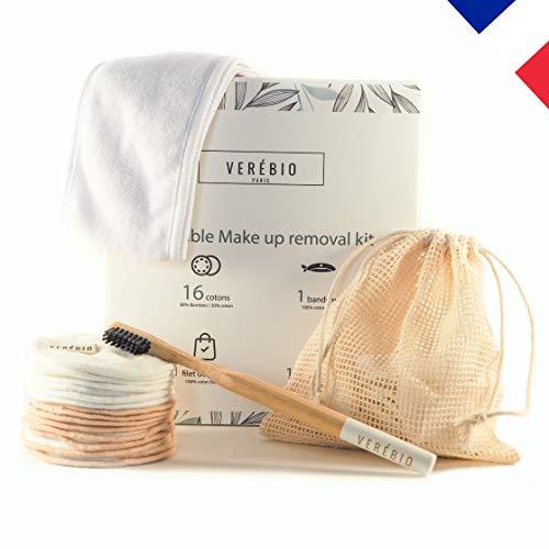 Coton Demaquillant Reutilisable Lavable Bambou Bio [Kit 16 Lingette] + [Brosse A Dent Bambou Offerte] + Filet Lavage/Rangement + Bandeau Cheveux. Marque Française Zero Dechet Soutient une Association