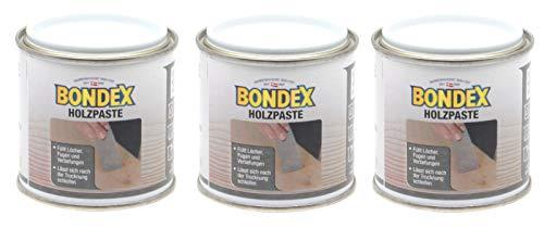 Bondex Holzpaste Holzkitt Reparaturpaste zum ausbessern von Risse Löcher Kratzer Laminat Parkett Möbel und Holz (3x 150g Dose, eiche mittel)