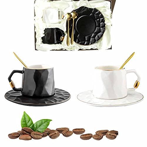 Watenkliy Klein Kaffeetassen mit Untertassen und Löffeln, 6-teilig Porzellan 180ml Gold Rand Tee Tassen für Kaffee, Eiskaffee, Espresso,Tee (schwarz+Weiss)