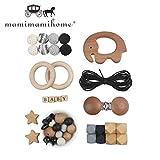 Mamimami Home Baby Beißring DIY Warenkorb Kette Baby Spielzeug Kinderkrankheiten Silikon Perlen Schnuller Clips Holzperlen Kinderkrankheiten Halskette Armband Olivenöl Tier Kit (Elefant)