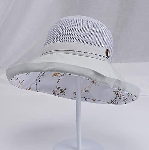 LONGSAND Sombreros para el Sol de Malla para Mujer, Gorra de protección UV para la Playa de Verano, Sombrero de sombrilla de ala Ancha para Sombrero de Pescador al Aire Libre,Gris,56~58cm