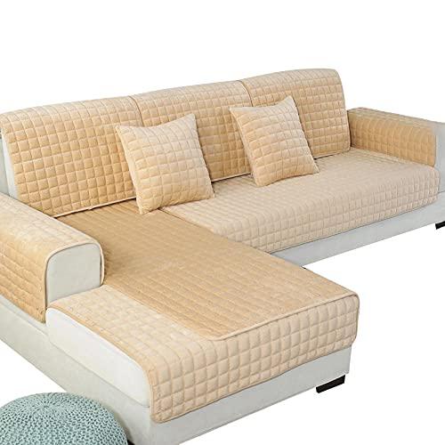 Allenger Cubrir Sofa Sillon Protector Sofafundas De Sofá De 1 Pieza para Sala De Estar, Cojín De Felpa Suave para Sofá, Toalla De Sofá De Esquina Minimalista Moderna, Color Caqui_110X110Cm 43X43In