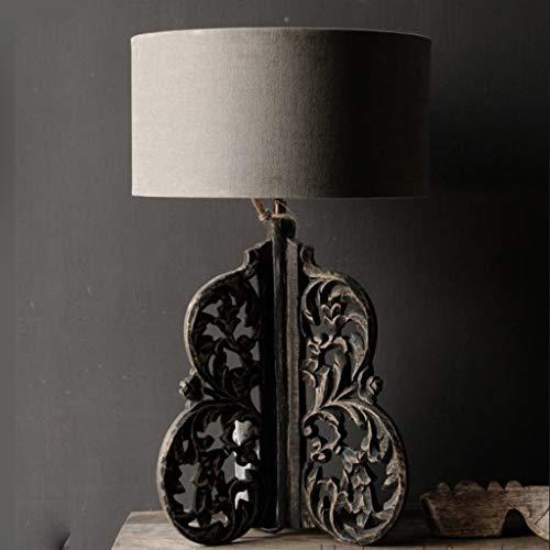 Lámpara de Mesa Estudio de la lámpara tallada a mano de estilo europeo lámpara de mesa de noche retro de la lámpara lámpara de escritorio Lámpara de mesa de madera Arte Clásica Lámpara Mesilla de Noch