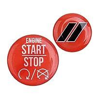 2pcsエンジンスタートストップ&テールゲートスイッチボタンカバートリムステッカー適合ダッジチャレンジャーチャージャー2010-2019