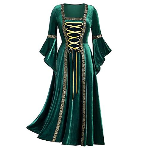 Mymyguoe Gothic Kleidung Damen Einfarbig Mittelalter Kleidung Prinzessin Kleid Abendkleider Lang...