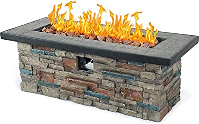 AMKV Propane Fire Pit Table for Outdoor Burning Fire Pit,48inch 50,000 BTU Rectangle Stonecrest Patio Propane Gas Firepit Table w Free Lava Rocks for Garden Square