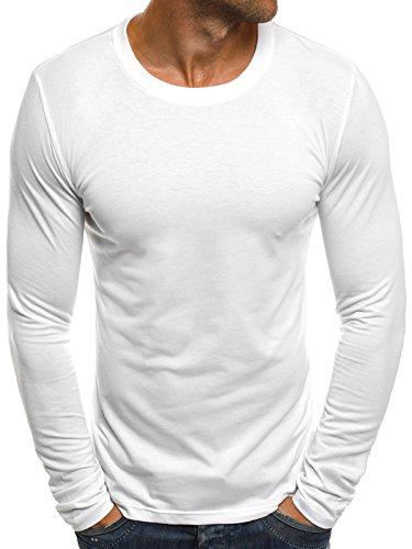 OZONEE Herren Langarmshirt Longsleeve Sweatshirt T-Shirt Slim Fit Sport Langarm Top Rundhals-Ausschnitt Regular Round Neck Long Sleeve U-Neck Sweats Langarmhemd J.Style 2088 L WEIß