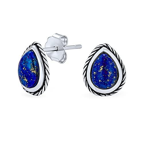 Petite Bali Estilo Semi Precious Gemstone Birthstones Pear Shape Teardrop Bezel Rope Edged Blue Lapis Lazuli Stud Pendientes para mujeres oxidadas .925 Plata esterlina