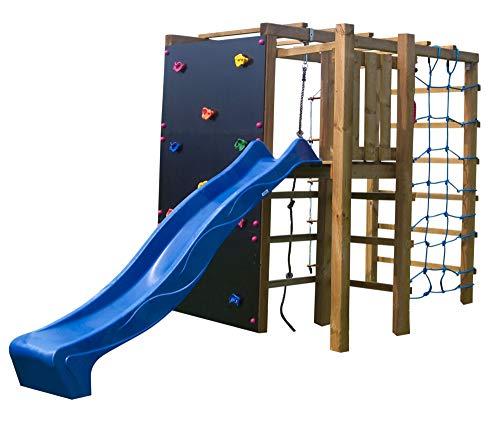 XXL Rutsche mit Klettergerüst Spielturm Kletterwand Kletternetz Kletterturm