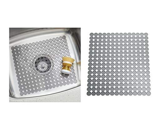 InterDesign Orbz Spülbeckenschutz, zuschneidbare Abtropfmatte aus Kunststoff für Geschirr, graphitfarben