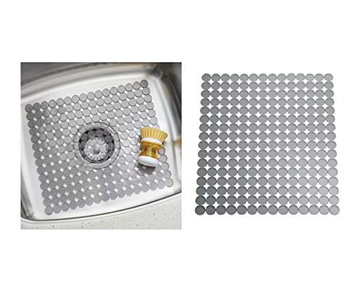 InterDesign Orbz Salvaplatos para fregaderos de Cocina, Alfombrilla escurreplatos Recortable en plástico, Gris Grafito