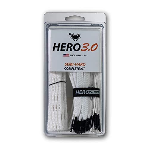 ECD Lacrosse Hero 3.0 Complete Kit Lacrosse Mesh and HeroStrings - Semi Hard - White
