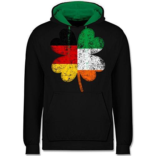 St. Patricks Day - Deutschland Irland Kleeblatt - L - Schwarz/Grün - Irland - JH003 - Hoodie zweifarbig und Kapuzenpullover für Herren und Damen