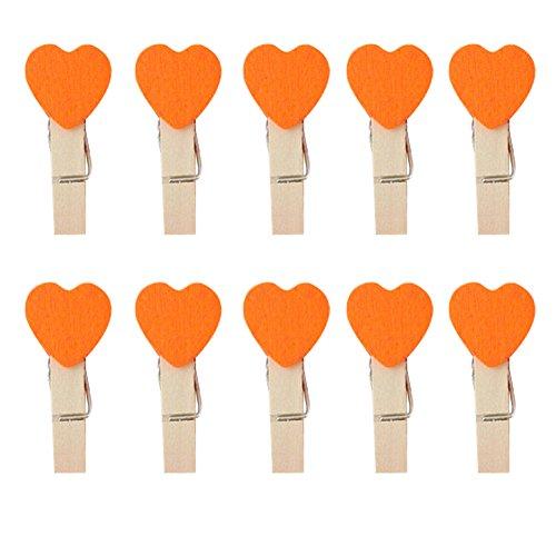 CAOLATOR 10 Pcs Amour Clips Photo en Bois Mini Pince à Linge en Bois Epingle Clip Chanvre Amour Mignon Petit Clip pour décor Orange