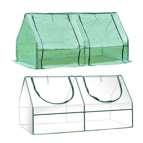 Aoodor Greenhouse UV Protected Plant Seed Grow Cold Frame with 2 Covers 6 ft. x 3 ft. x 3ft.