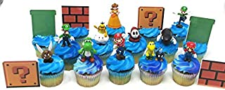 Super Mario Brothers Deluxe Game Scene Cupcake Topper Set Featuring Mario and Friends Figures and Decorative Accessories