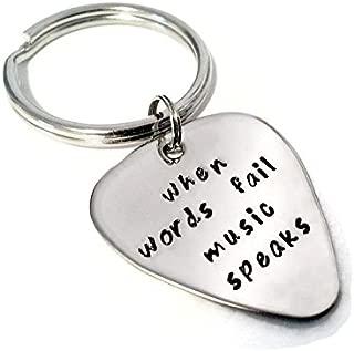 Moonstone Creations When Words Fail Music Speaks Guitar Pick Key Chain