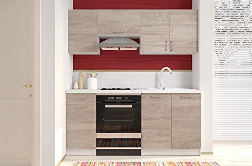 Bricozone Cucina Componibile Completa da Incasso con Mobili Base e Mobili Pensili Sospesi Cucinino Moderno in Legno Laminato da 180 Cm (Quercia)