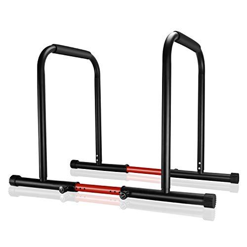Surwit Dip Barren tragbare Dip Station Fitness Bar, Workout Pull Up Dip Stand, Verstellbare Körperpresse Bar Stabilisator Parallette Push Up für Heim-Gym Training, Mit 2 Verstellbaren Bar