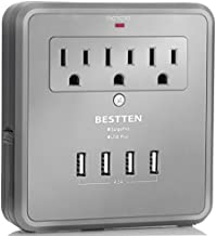 BESTTEN 4.2A 4 USB Wall Surge Protector with 3 AC Outlets, Wall Mount USB Outlet with 2 Slide-Out Phone Holders, ETL Certified, Grey