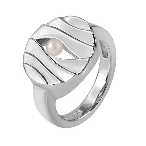 MATERIA Original 925 Sterling Silber Ring Perle - Damen Ring breit gewellt/rhodiniert inkl. Box Gr. 51 54 57 59#SR-42, Ringgrößen:59 (18.8 mm Ø)